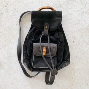 🖤 VINTAGE GUCCI Suede Leather Bamboo Backpack